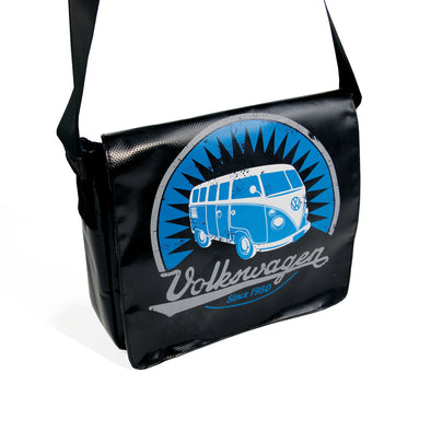 Officially Licensed Volkswagen Bus Tarpaulin Shoulder Bag-Black - Cool VW Stuff  - 1