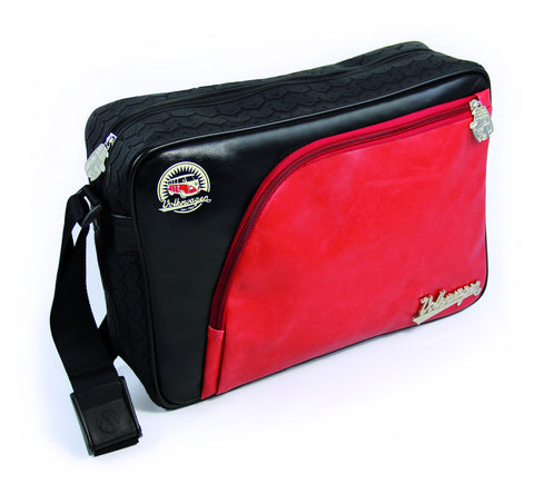 Officially Licensed Volkswagen Shoulder Bag with Tire Tread Edging-Red