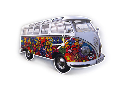 VW Bus Wall Clock-Flowers