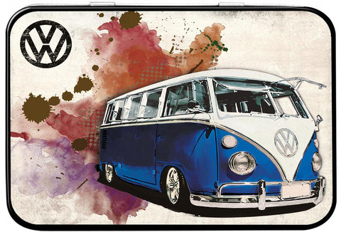 VW Camper Grunge Dark Blue Keepsake Tin - Cool VW Stuff  - 1