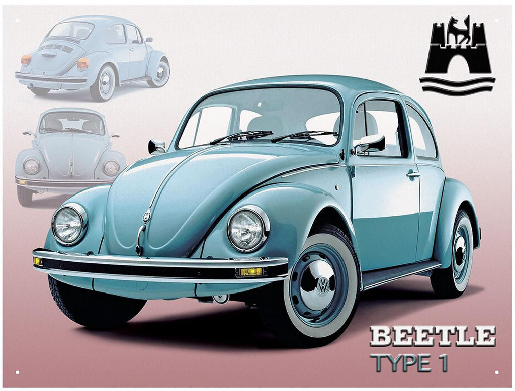 VW Wolfsburg Beetle Type 1 Metal Wall Sign - Cool VW Stuff