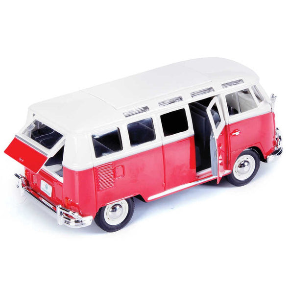 Volkswagen 21 Window Samba Van 1/25 Red - Maisto Diecast Model - Cool VW Stuff  - 5