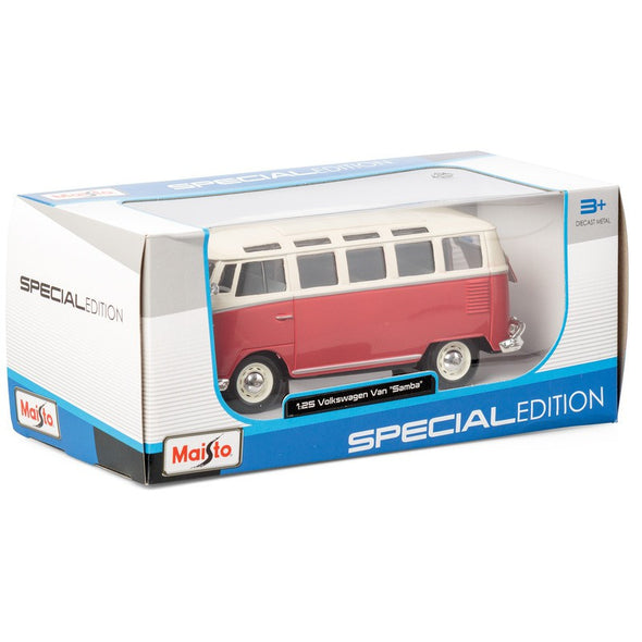 Volkswagen 21 Window Samba Van 1/25 Red - Maisto Diecast Model - Cool VW Stuff  - 7