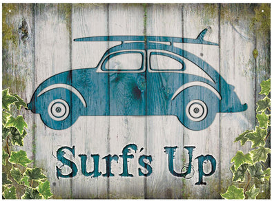 VW Beetle Surf's Up Metal Wall Sign - Cool VW Stuff  - 1