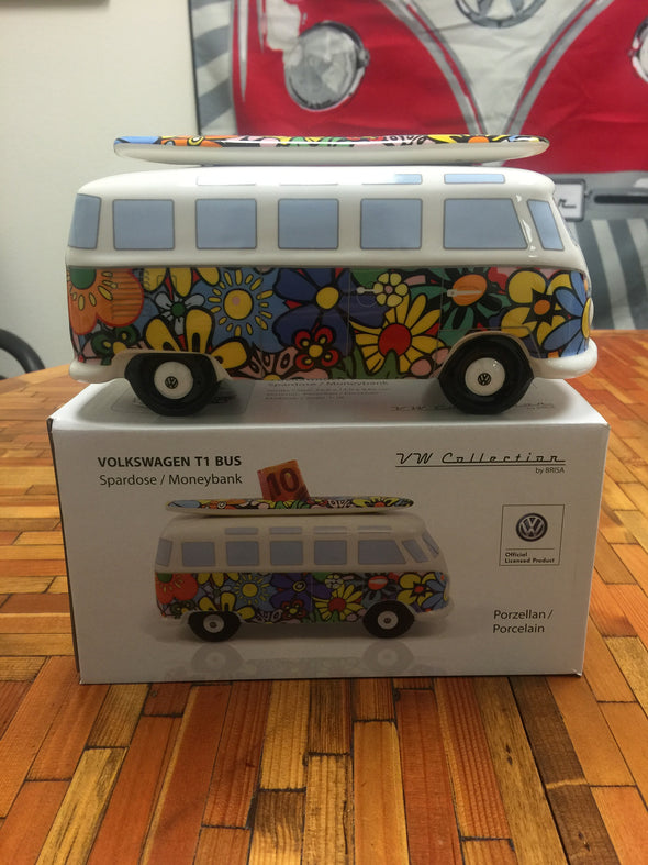 VW Bus Money Bank with Surfboard-Flower Power - Cool VW Stuff  - 4