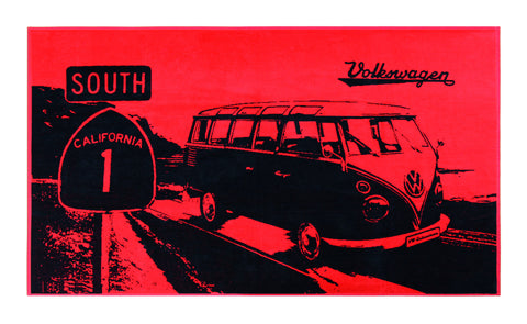 VW Bus Beach Towel - Red/Black - Cool VW Stuff