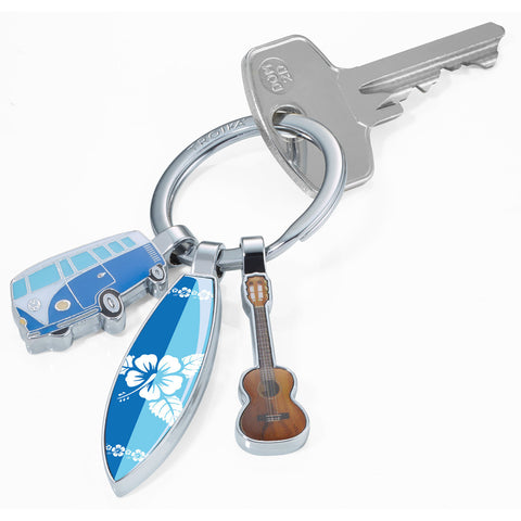 Troika Surfmate VW Bus Keychain - Surfboard & Guitar Charms