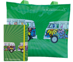Flower Power Bus Tote Bag & Notebook Gift Set - Cool VW Stuff  - 1