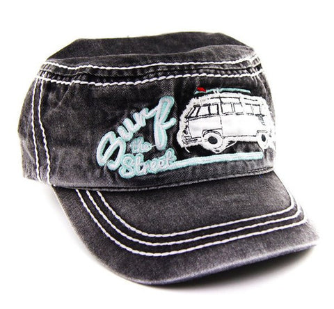 Surf the Streets Military Cap-Charcoal Gray - Cool VW Stuff  - 1