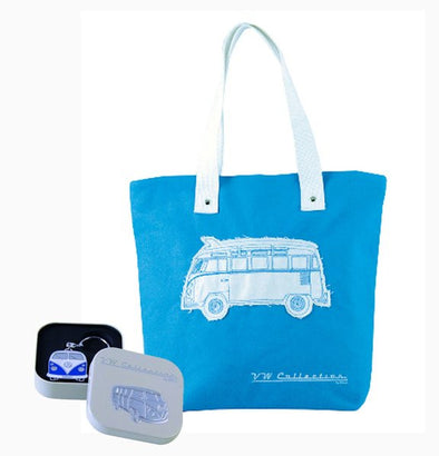 VW Blue Shopper Tote Bag & Blue Bus Key Ring - Cool VW Stuff  - 1