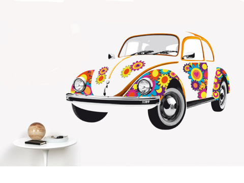 Wall Decal-Beetle Flower Power - Cool VW Stuff  - 1