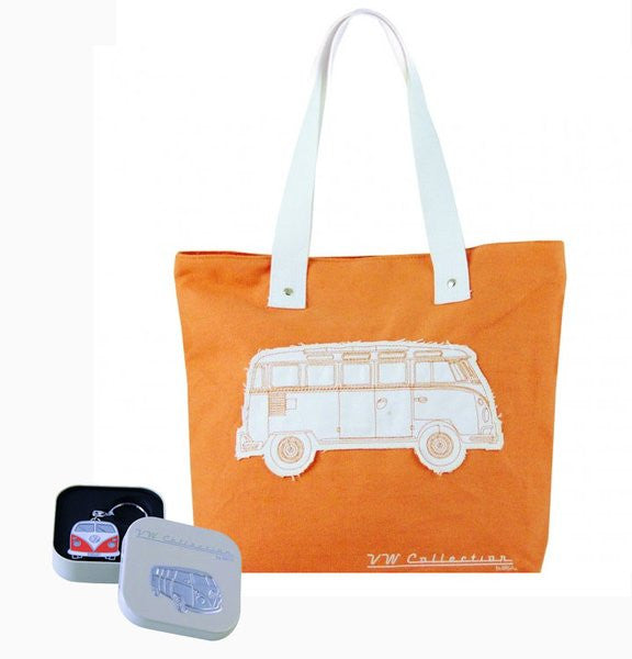 VW Orange Shopper Tote Bag & Orange Bus Key Ring - Cool VW Stuff  - 1