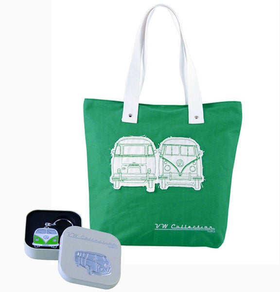 VW Green Shopper Tote Bag & Green Bus Key Ring - Cool VW Stuff  - 1