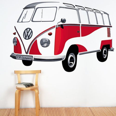 Wall Decal-Red T1 Bus - Cool VW Stuff  - 1