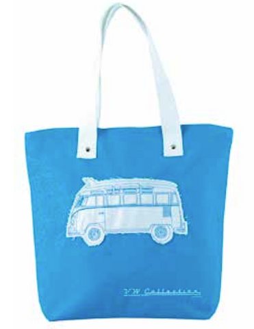 VW Volkswagen Bus Shopping Canvas Tote Bag-Blue - Cool VW Stuff