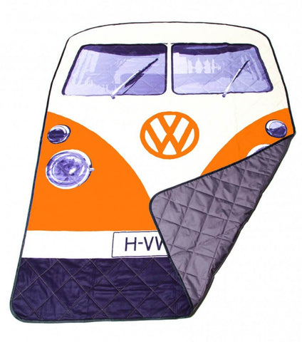 VW Orange Bus Picnic Rug & Blanket