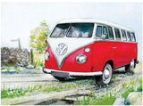 VW Watercolour Camper Country Lane Metal Wall Sign - Cool VW Stuff  - 1