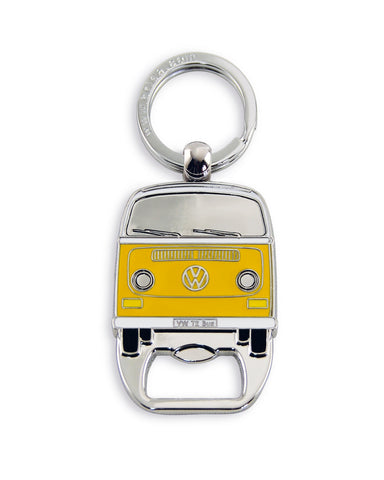 VW Bus T2 Key Ring with Bottle Opener - Yellow Bay Window