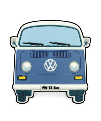 VW T2 Bay Window Bus Magnet - Front End Blue