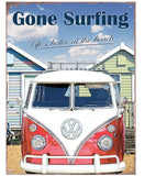 VW Gone Surfing Metal Wall Sign - Cool VW Stuff  - 1