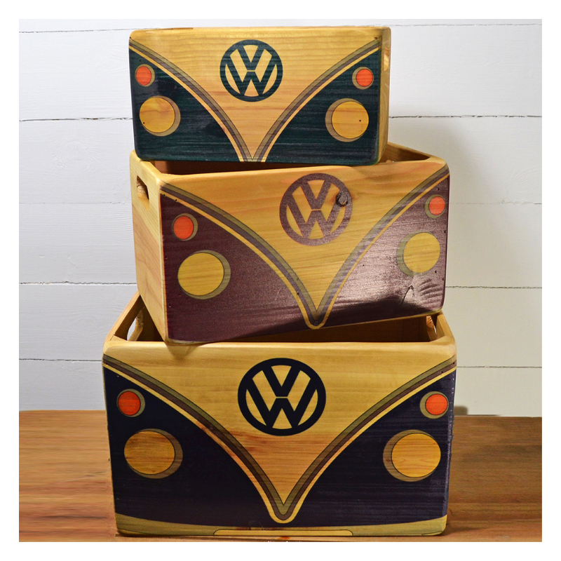Red Hot Lemon VW Wooden Storage Crates - VW Fronts Set of 3