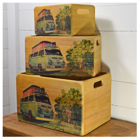 Red Hot Lemon VW Wooden Storage Crates - VW T2 Camper Pop Up Set of 3