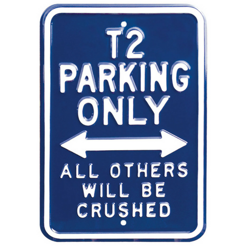 VW T2 Parking Only Steel Sign - Dark Blue