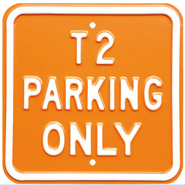VW T2 Parking Only Steel Sign - Orange