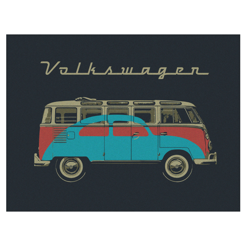 vw t1 bus fleece blanket samba beetle by vw collection. Black Bedroom Furniture Sets. Home Design Ideas