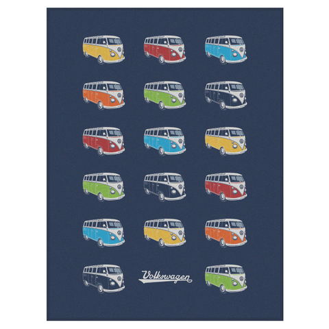 VW T1 Bus Fleece Blanket - Colored Sambas