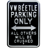 VW Beetle Parking Only Steel Sign - Black
