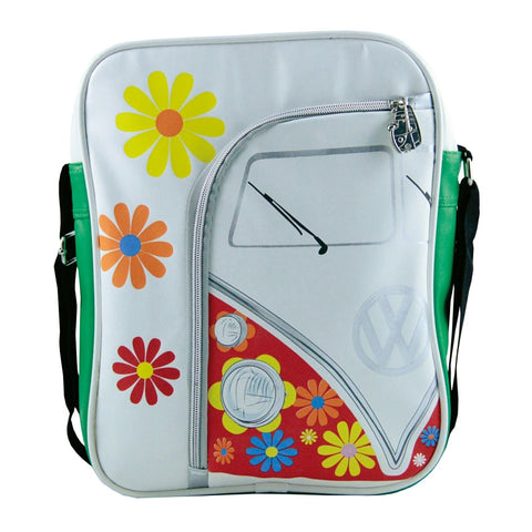 Volkswagen Camper Deluxe Cross-Body Tablet Bag-Flowers