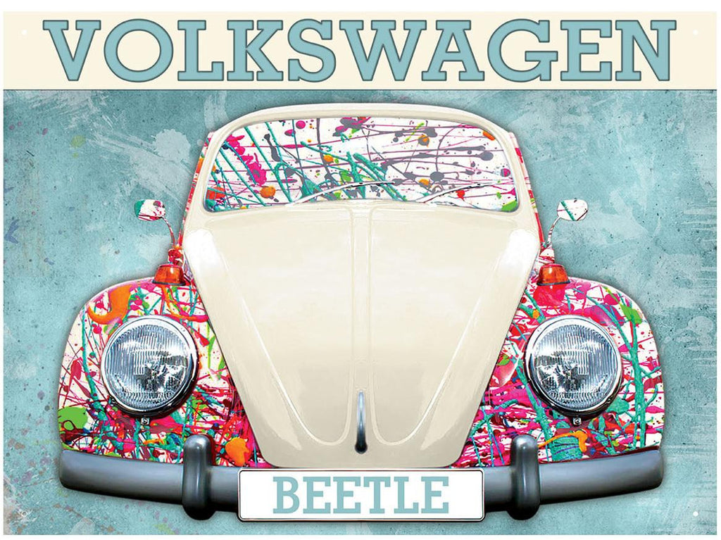 VW Beetle Paint Splat Metal Wall Sign - Cool VW Stuff