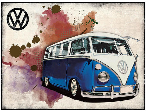 W Camper Grunge - Dark Blue Metal Wall Sign - Cool VW Stuff  - 1
