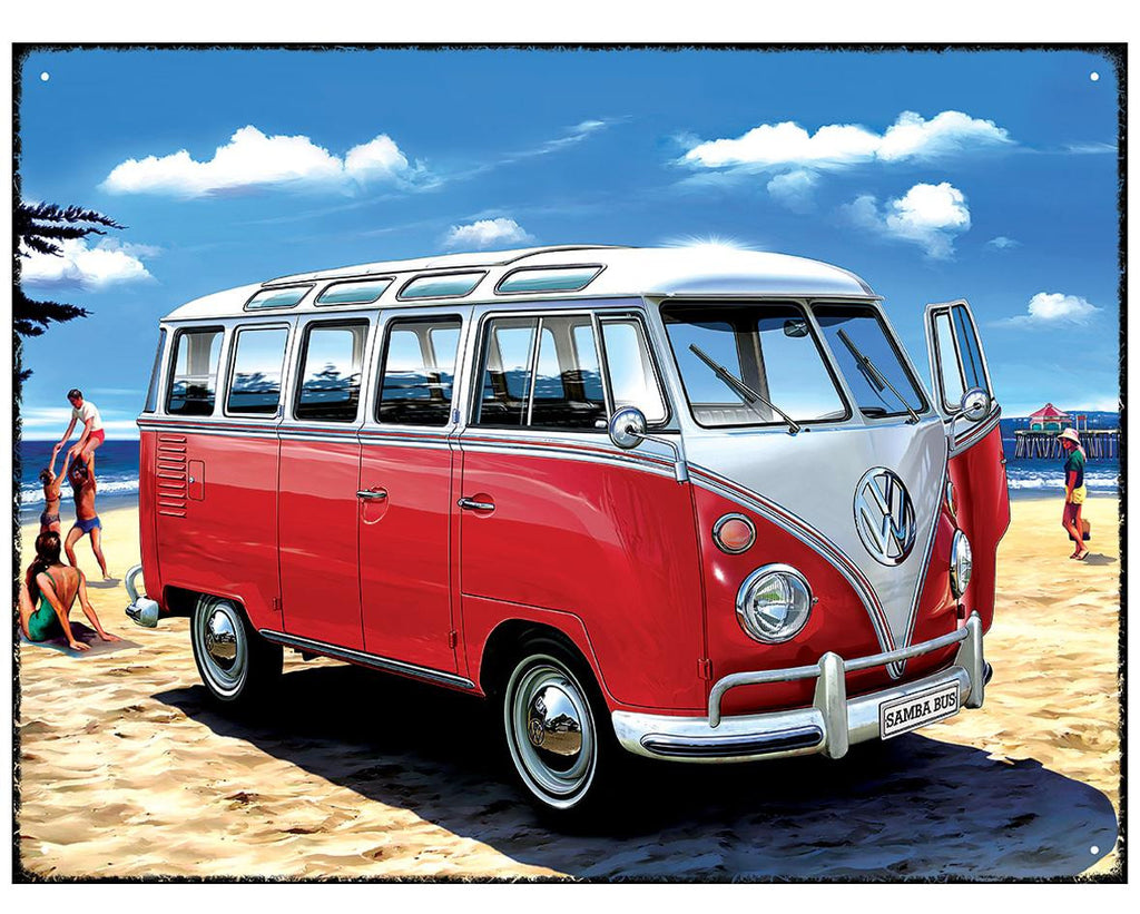 VW Samba Bus Beach Metal Wall Sign - Cool VW Stuff  - 1