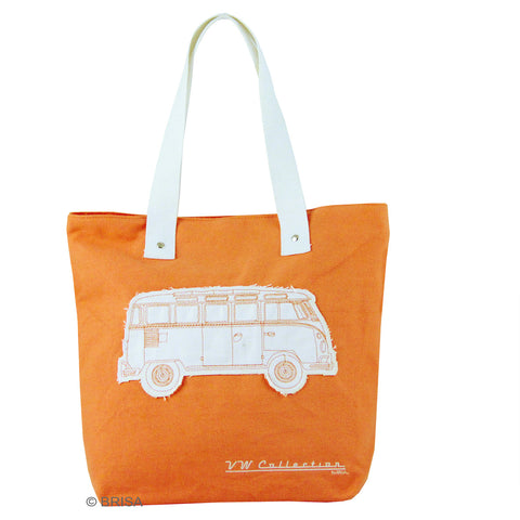 VW Volkswagen Bus Canvas Shopping Tote Bag-Orange Bus - Cool VW Stuff