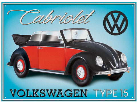 VW Beetle Cabriolet Type 15 Metal Wall Sign - Cool VW Stuff  - 1