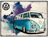 VW Camper Grunge - Light Blue Metal Wall Sign - Cool VW Stuff  - 1
