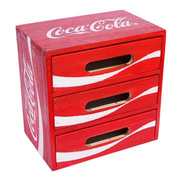 COCA-COLA WOOD CRATE DRAWER STORAGE CABINET DESK ORGANIZER