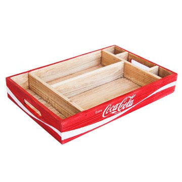 Red Wooden Coca-Cola Crate Desk Organizer Tray