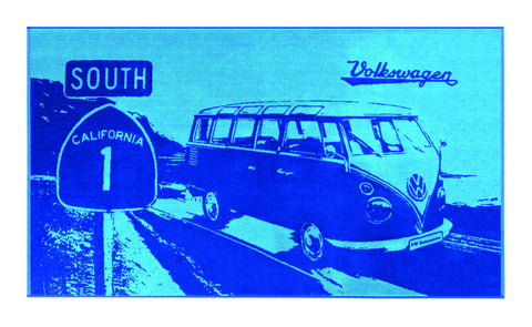 VW Bus Beach Towel - Aqua/Blue - Cool VW Stuff