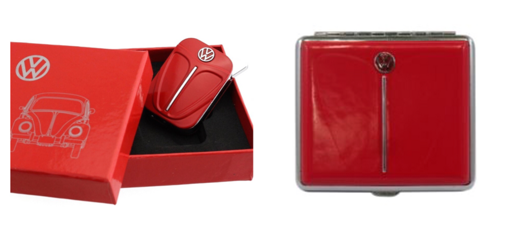 VW Beetle Lighter and Cigarette Case Gift Set-Red - Cool VW Stuff  - 1
