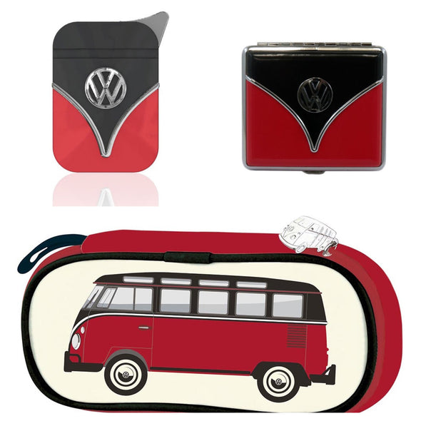 The Smokers Gift Set-Red & Black Lighter with Cigarette Case and Carrying Case - Cool VW Stuff  - 1