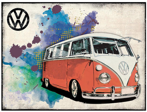 VW Camper Grunge - Red Metal Wall Sign - Cool VW Stuff  - 1