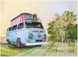 W Watercolour Camper Pop Up Metal Wall Sign - Cool VW Stuff  - 1