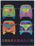 VW Camper Neon Quad Metal Wall Sign - Cool VW Stuff  - 1