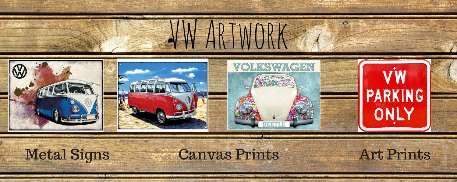 VW Art, Metal Signs, artwork, vw bus, vw beetles, volkswagen art, canvas art