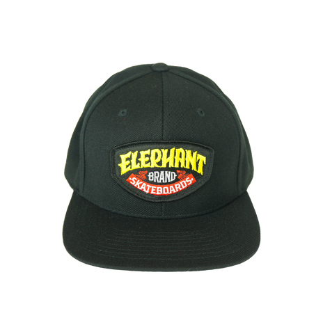 Elephant Brand Logo Patch Snap Back Hat Black