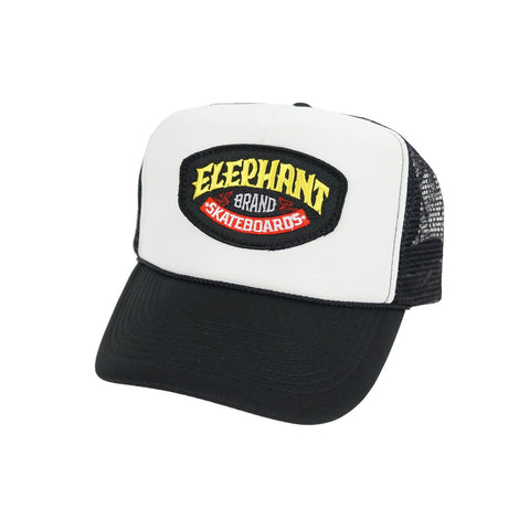 Elephant Logo Patch Trucker - Black/White