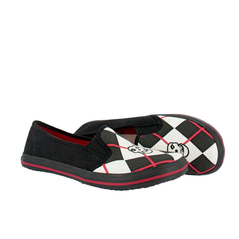 Draven Misfits Fiend Argyle Red/Black Round Toe Flats Women's Shoes